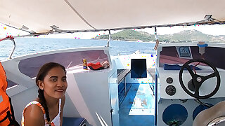 Rented a boat for a day and had sex on rolling in money with Asian teen GF