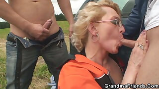 Picked up hot grandma gets DP in an obstacle fields