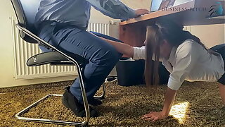 trainee sucks the bosses cock for her career farther down than the desk in the office and swallows his cum - business-bitch