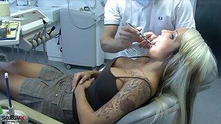 Sexy Cora Blowjob at dental office - medical fetish