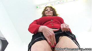 Buxom gilf Lassie Ava shows you her big boobs and fine fanny