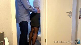 boss meets secretary on the office restroom - business-bitch