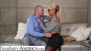 Naughty America Bridgette B. fucks married panhandler on couch
