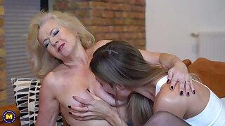 Granny Emily Jane fucks hot babe Polina Maxima