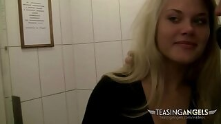 Naughty blonde flashes her irritant in public while her boyfriend films