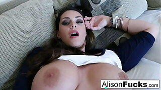 Big Tit Alison Tyler rubs her giant knockers at the pleasuring herself