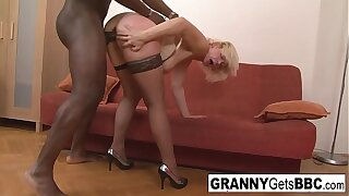 Profane blonde mature gets her ass filled with black weasel words